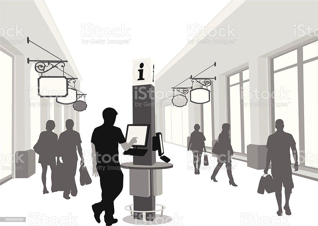 Kiosk'n Shopping Vector Silhouette vector art illustration