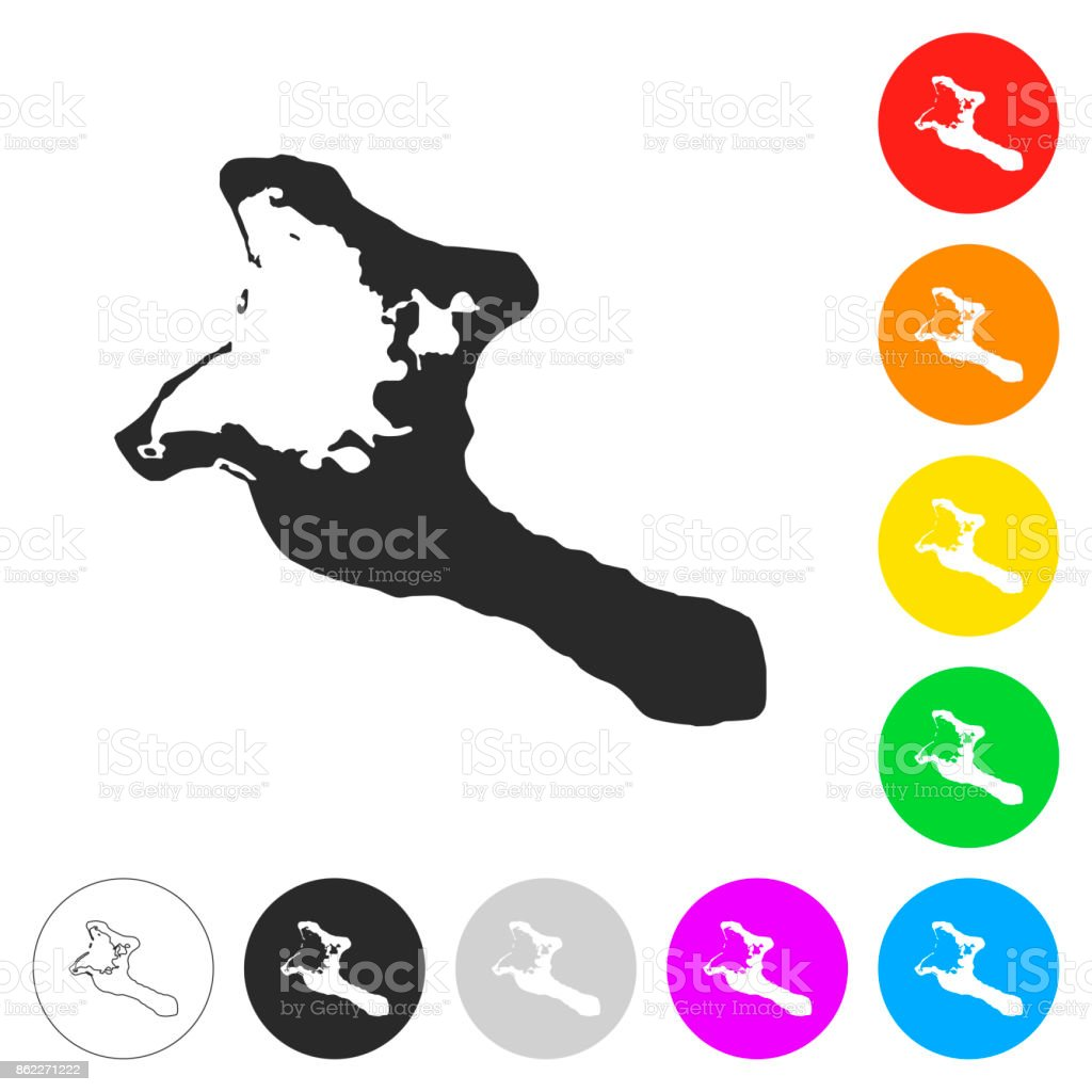 Kiribati map - Flat icons on different color buttons vector art illustration