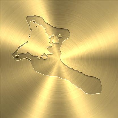 Kiribati map on gold background - Circular brushed metal texture