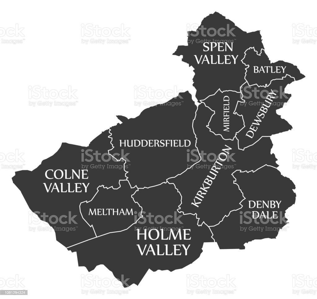 Huddersfield Carte Angleterre.District Metropolitain De Kirklees Carte Angleterre