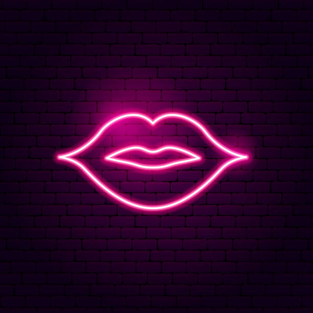 kiss lips neon sign - kiss stock illustrations