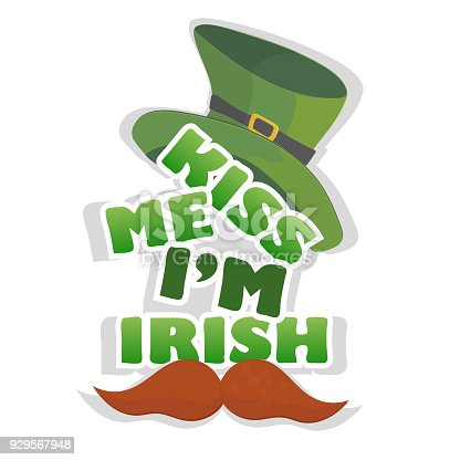 Kiss me Im Irish t-shirt or poster design with leprechaun hat. For celebration of Saint Patricks Day