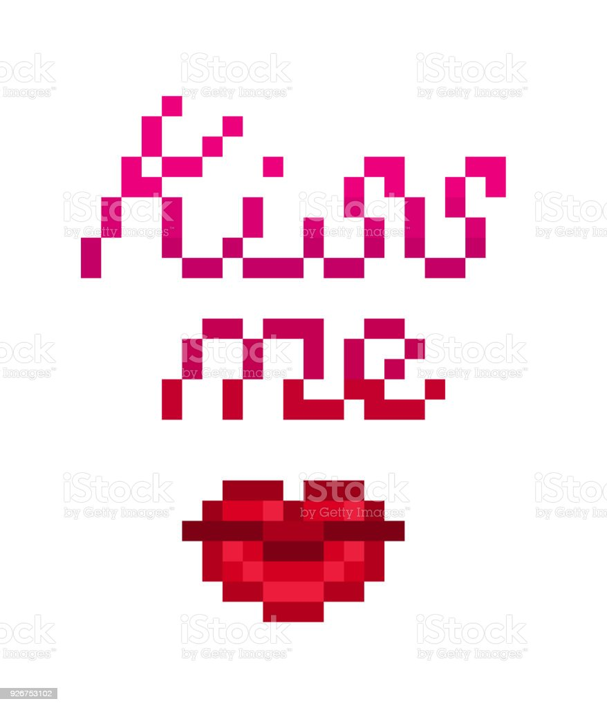 Kiss Me Pixel Art Lettering With Red Lips Symbol Isolated On White