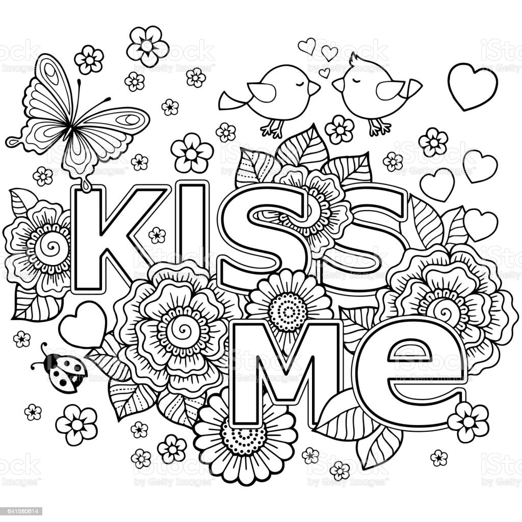 Kiss Me Vector Abstract Coloring Book For Adult Design Wedding Invitations And Valentines