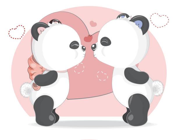 illustrations, cliparts, dessins animés et icônes de bols en peluche de panda de baiser - panda