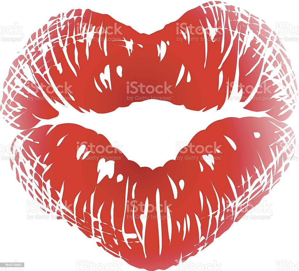 Kiss print in the shape of heart royalty-free stock vector art