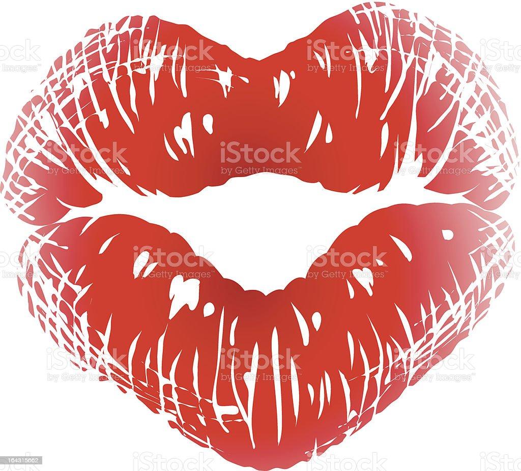 Kiss print in the shape of heart vector art illustration