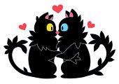 Cats in Love, Lovers kissing, Cat kiss, two black cats, beautiful cartoon cats kiss, sticker, holding hands and kissing