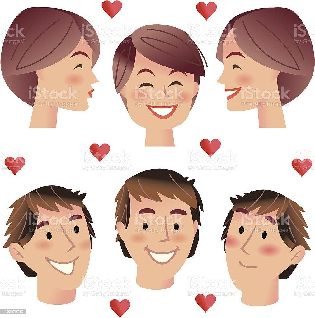 Kissing Boys and girls vector art illustration
