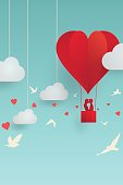Vector illustration, romantic scene of Valentine's day concept, paper style with shadow, couple lovers kissing on balloon, cloud and sky background, in heart shape and bird flying.