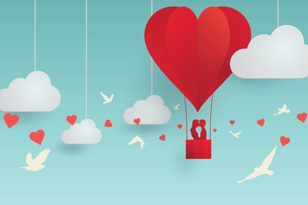 Kissing couple on sky Vector illustration, romantic scene of Valentine's day concept, paper style with shadow, couple lovers kissing on balloon, cloud and sky background, in heart shape and bird flying. boyfriend stock illustrations