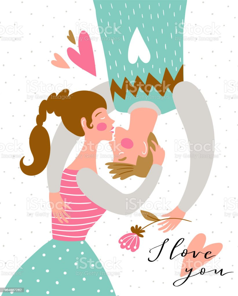 Kissing couple on the polka dot background. Valentine's Day card. Cute couple in love. Vector illustration in hand drawn style. royalty-free kissing couple on the polka dot background valentines day card cute couple in love vector illustration in hand drawn style stock vector art & more images of no people