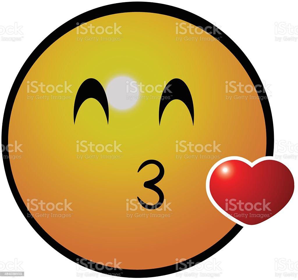 Kissing face emotion icon vector art illustration