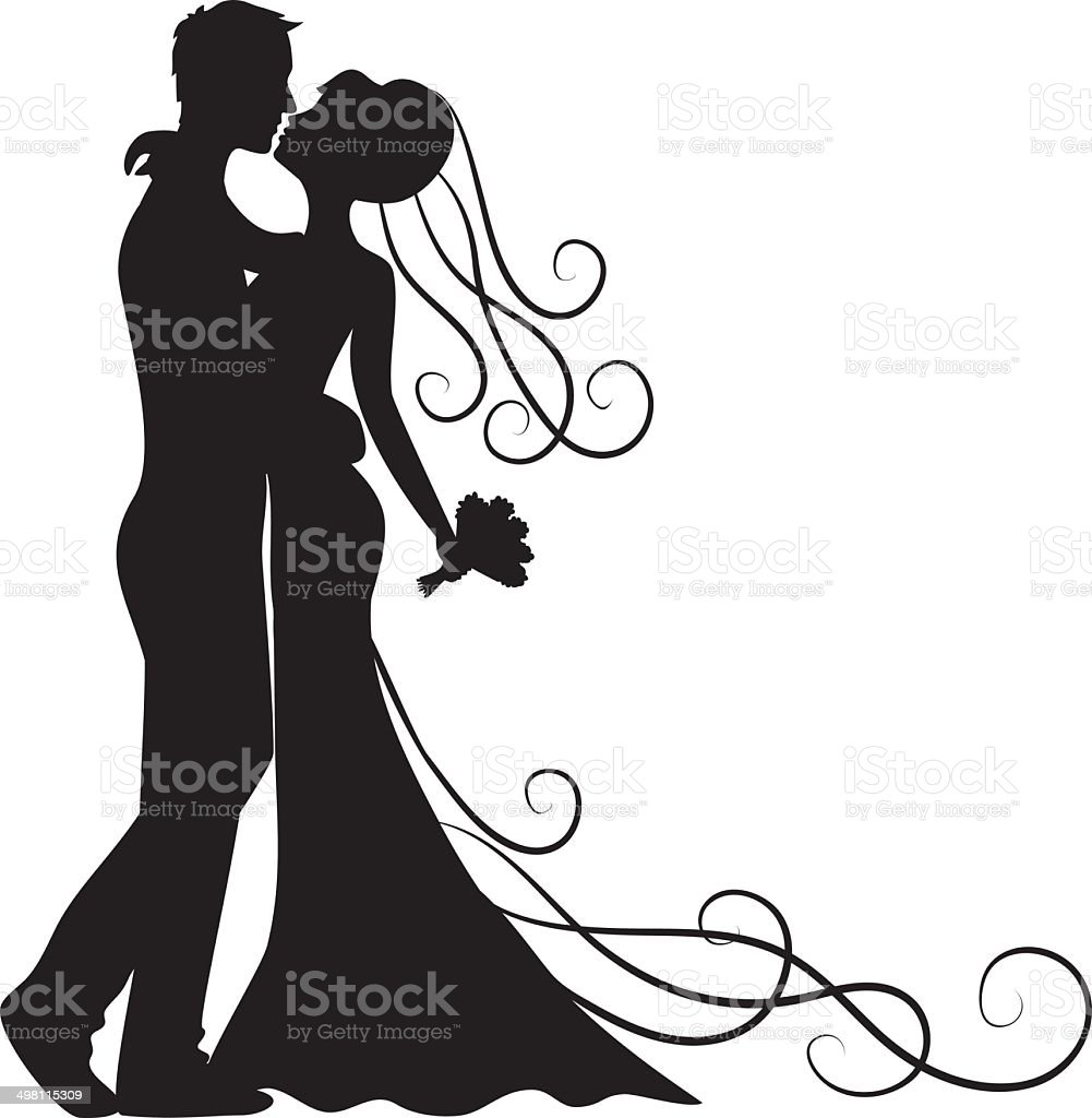 kissing groom and bride vector art illustration