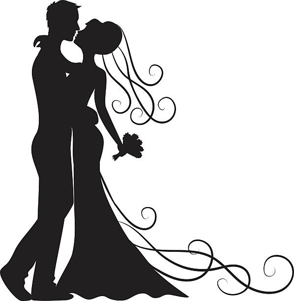 kissing groom and bride Black silhouette of kissing groom and bride bridegroom stock illustrations