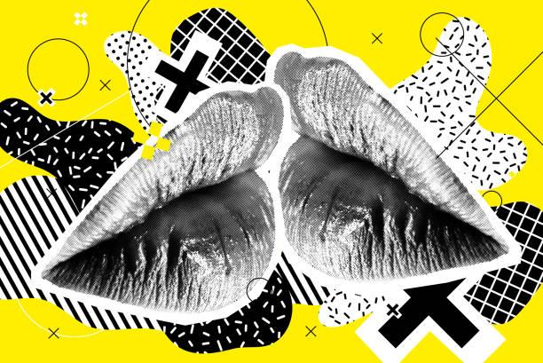 Küssen Halbton Frau Lippen auf hellen Hintergrund – Vektorgrafik