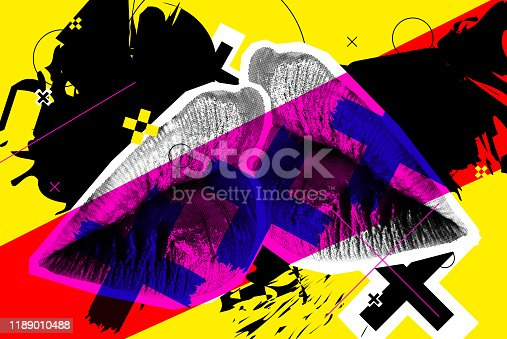 Kissing Halftone Woman Lips On Bright Background. Vector Collage With Universal Graphic Elements, Geometric Shapes, Dotted Object For Your Design