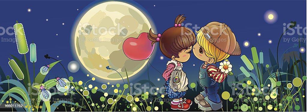Beso en la noche - arte vectorial de Abrazar libre de derechos