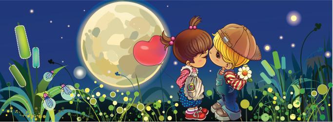Ilustración de Beso En La Noche y más Vectores Libres de Derechos de Abrazar