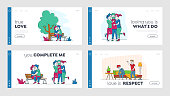 Kissing People, Love and Home Scandal Landing Page Template Set. Male and Female Characters Kiss, Hug and Spend Time Together. Wife and Husband Quarrel and Spouse Violence. Linear Vector Illustration