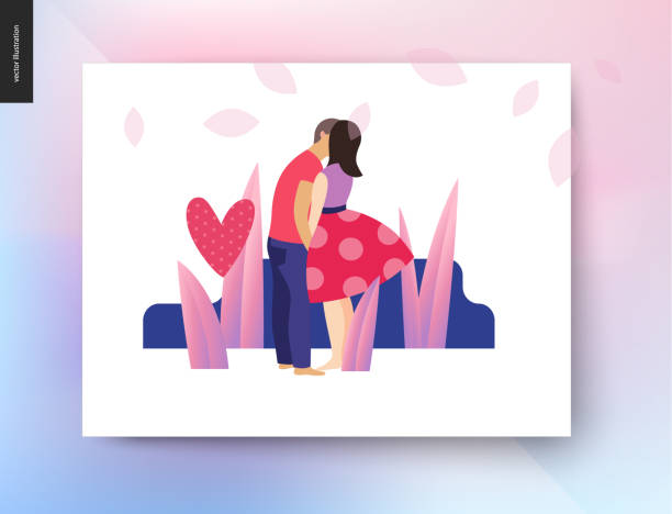 Kissing scene postcard Kissing scene - flat cartoon vector illustration of young couple, boyfriend and girlfriend, kissing, romantic scene with grass, plants, leaves and a pink polka dotted heart on background - postcard young couple stock illustrations