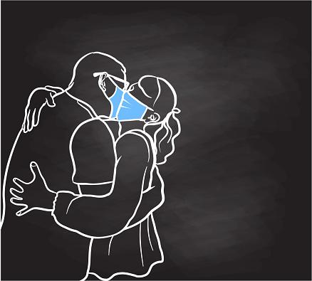 Kissing With Medical Masks Chalkboard