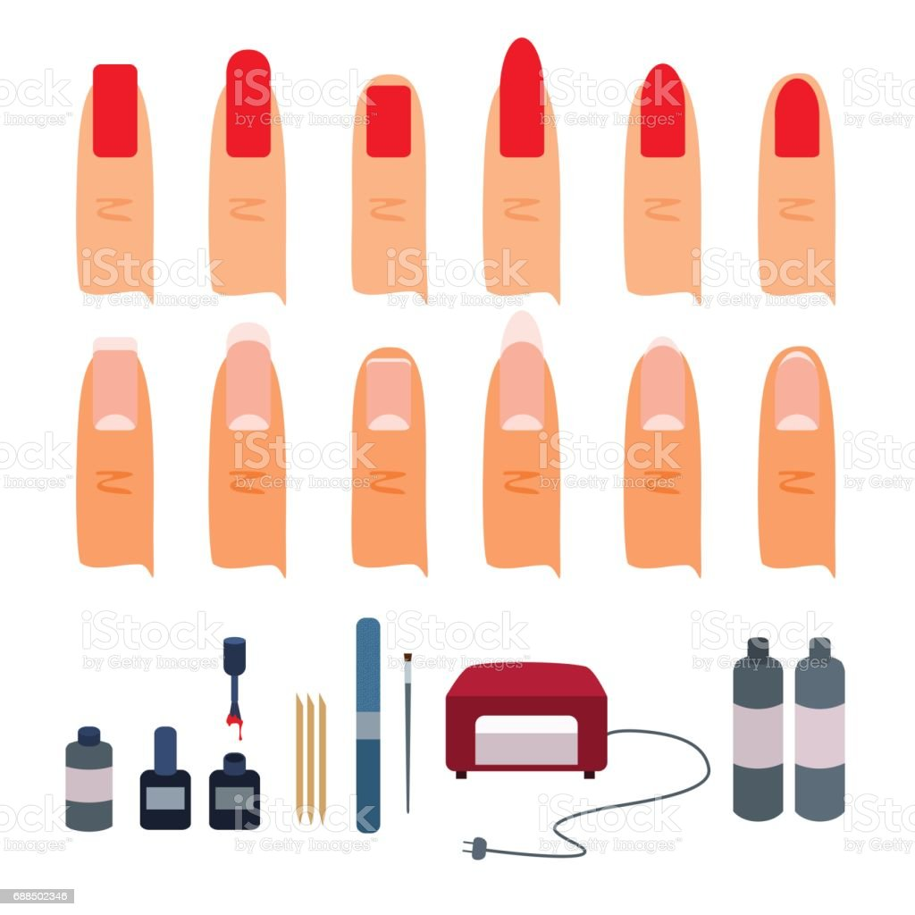 Kit for gel manicure and types of shapes of nails on fingers. vector art illustration