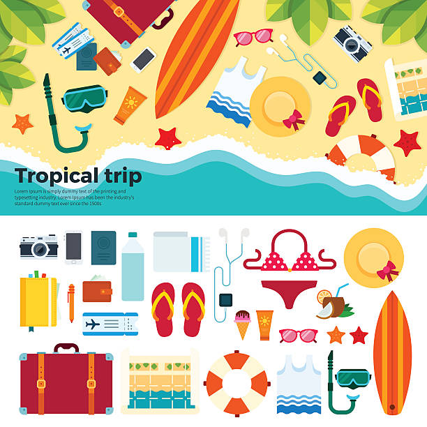Kit for tropical trip on sand Summer vacation staff vector flat illustrations. Entertainment elements on the sand near the sea, tropical trip equipment, camera, hat, map, sunglasses, slippers isolated on white background seyahat noktaları illustrationsları stock illustrations