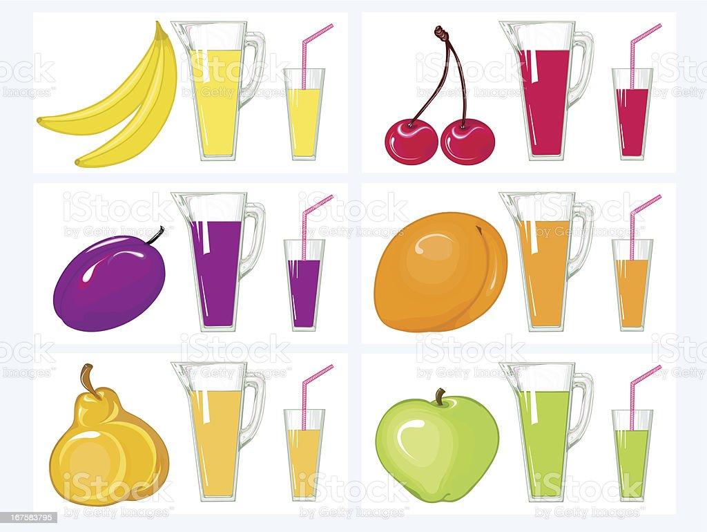 Kit  juice and fruits vector art illustration