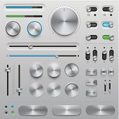 Vector User Interface elements (UI kit) in metallic style. Very detailed illustration with transparency in EPS'10. Elements for your website, blog or application. Design elements in this set are pixel perfection. You can use all design elements without background.