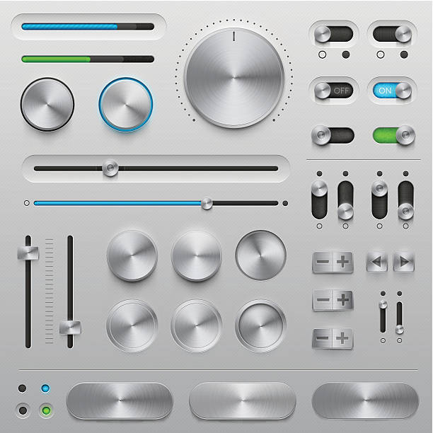 UI kit - metal Vector User Interface elements (UI kit) in metallic style. Very detailed illustration with transparency in EPS'10. Elements for your website, blog or application. Design elements in this set are pixel perfection. You can use all design elements without background. knob stock illustrations