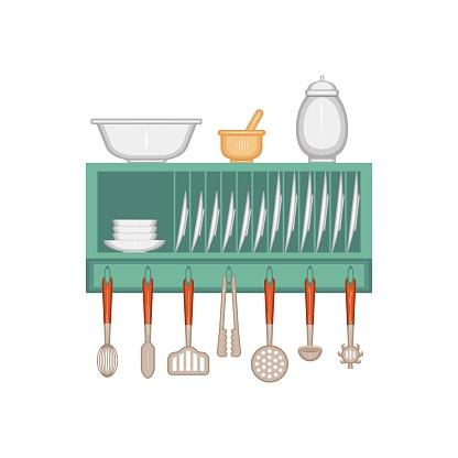 Kitchen. A shelf for dishes with arranged kitchen utensils.