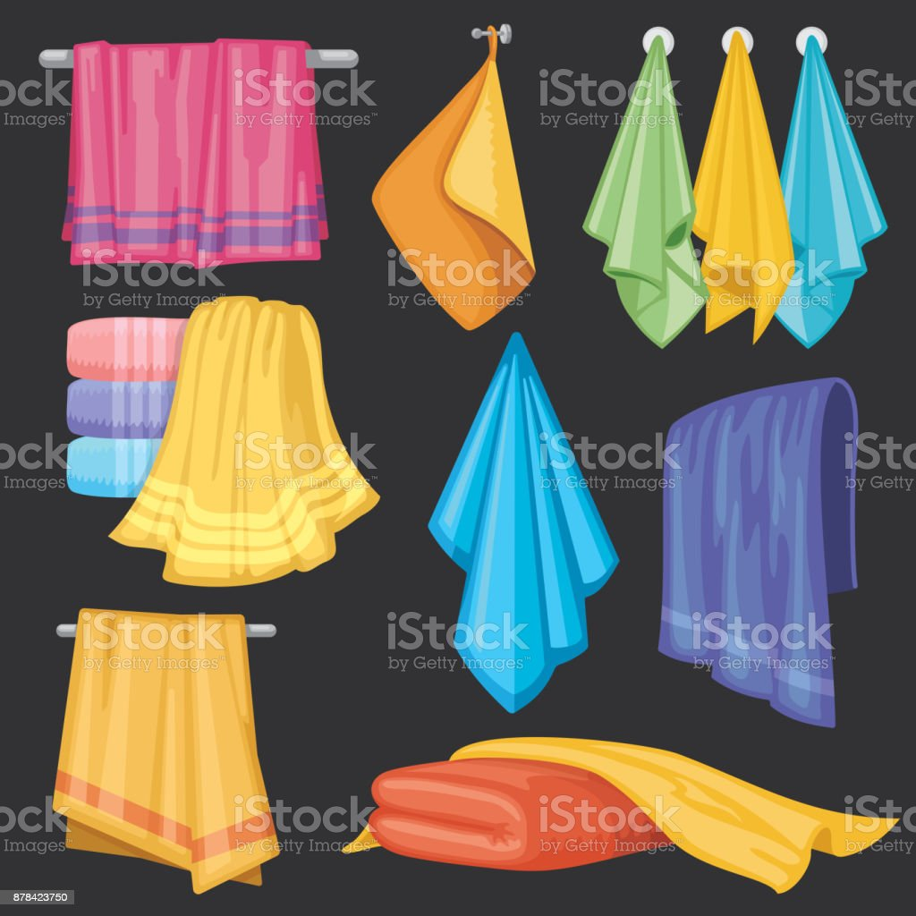 Kitchen and bath hanging and folding towels isolated vector set vector art illustration