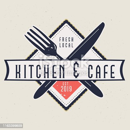 istock Kitchen and Cafe Labels with text designs as well as restaurant utensils 1163399859