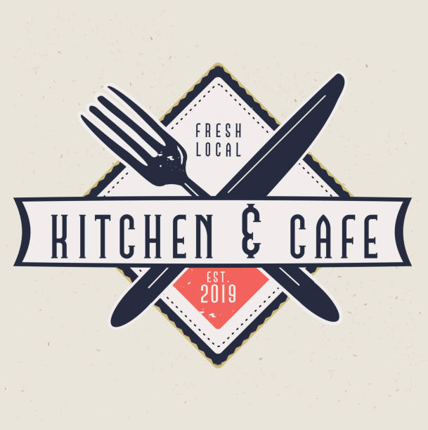 Kitchen and Cafe Labels with text designs as well as restaurant utensils vector art illustration