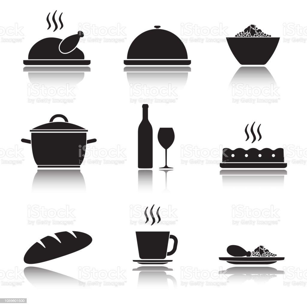 Kitchen And Cooking Icon Set Food And Drink Icons Isolated On White Background Vector Illustration Stock Illustration Download Image Now