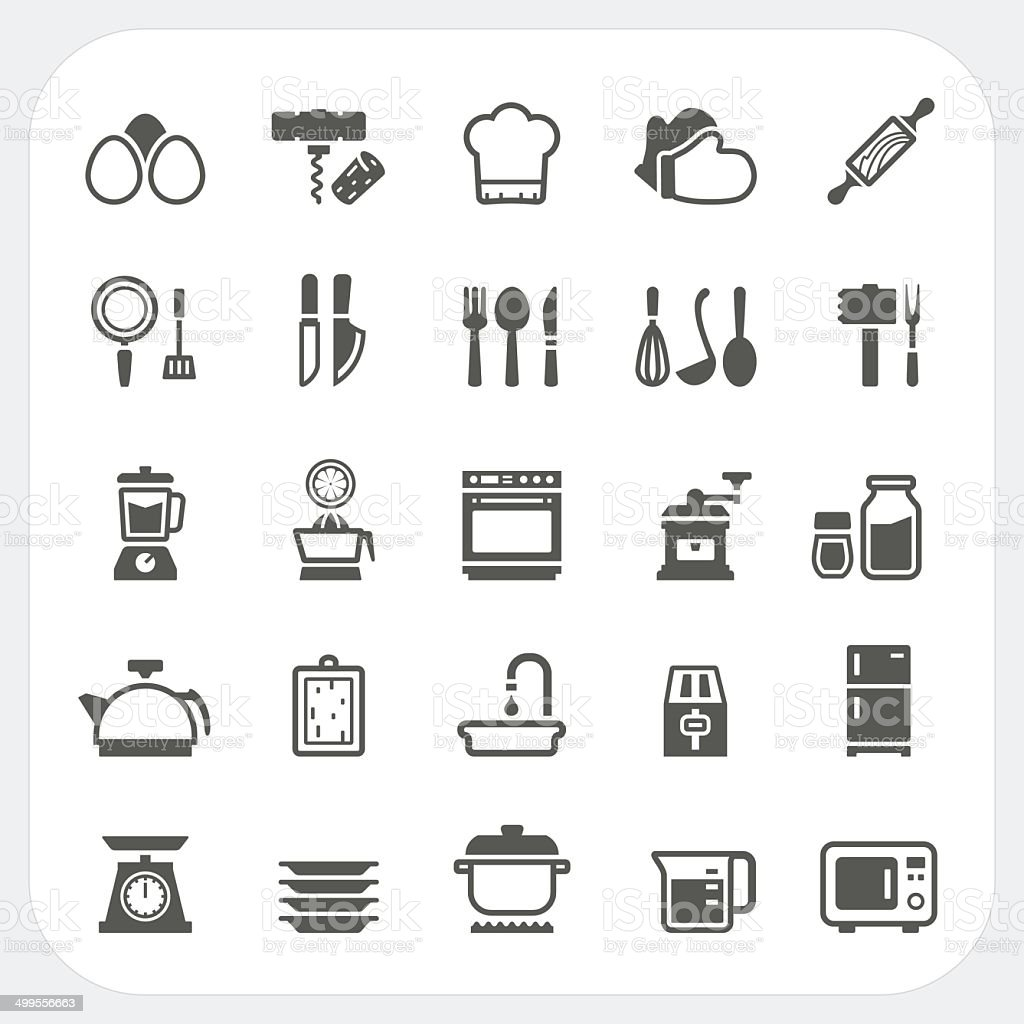 Kitchen and cooking icons set vector art illustration