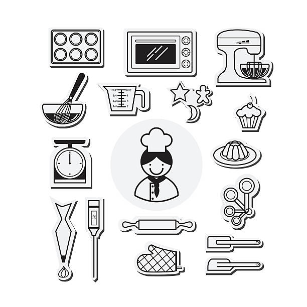 kitchen and cooking icons white. vector illustration - mixing bowl stock illustrations, clip art, cartoons, & icons