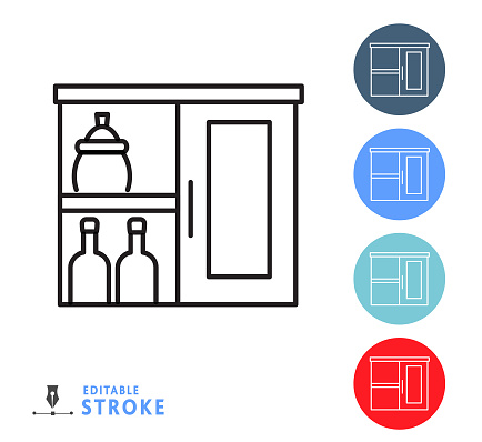 Kitchen and cooking pantry cupboard thin line Icon - editable stroke