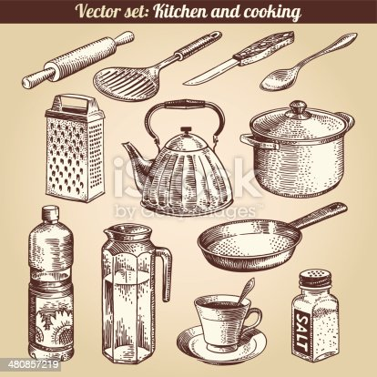 Kitchen And Cooking Set Vector