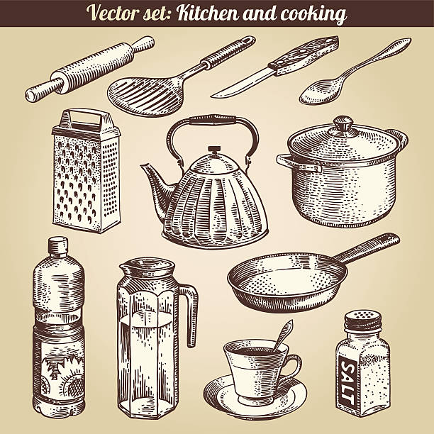 Kitchen And Cooking Set Vector Kitchen And Cooking Set Vector frying pan stock illustrations