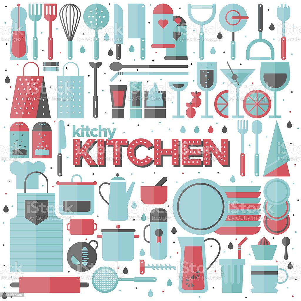 Kitchen And Cooking Utensils Flat Illustration Stock Vector Art ...