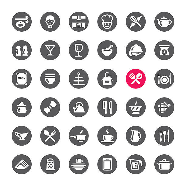 Kitchen and Cooking vector icons Kitchen and Cooking related icons.  mixing bowl stock illustrations
