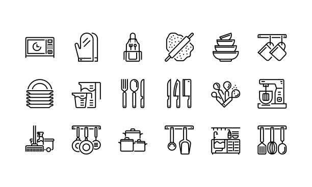 Kitchen and cookware icons set 1 Kitchen and cookware icons set 1 kitchen stock illustrations