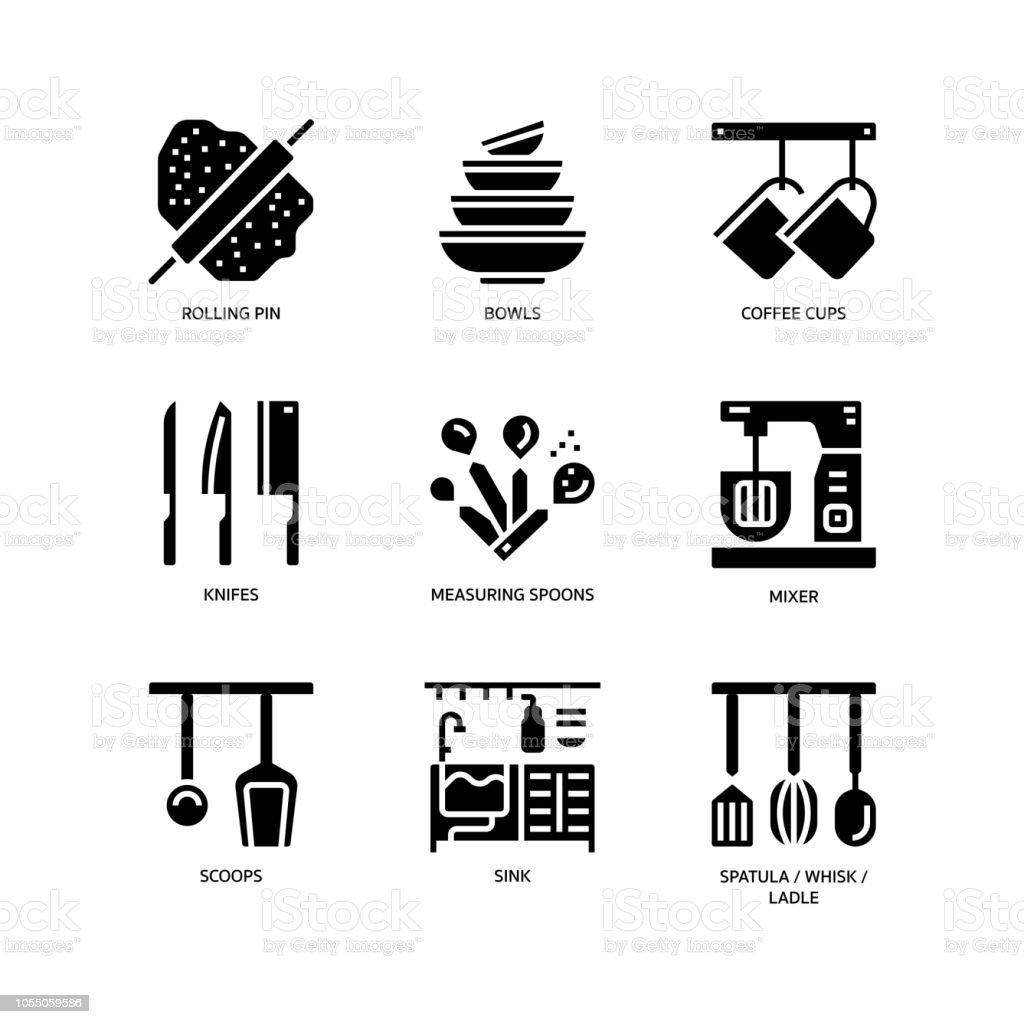 Symbole Fur Kuche Und Geschirr Stock Vektor Art Und Mehr Bilder Von