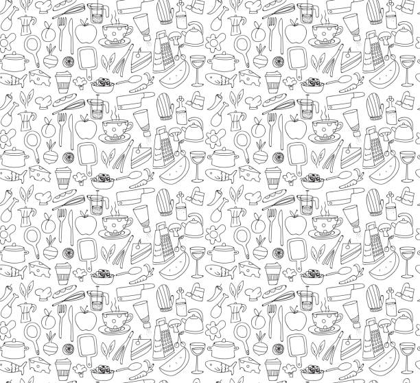 Kitchen and Food Pattern Kitchen and Food Pattern cooking designs stock illustrations