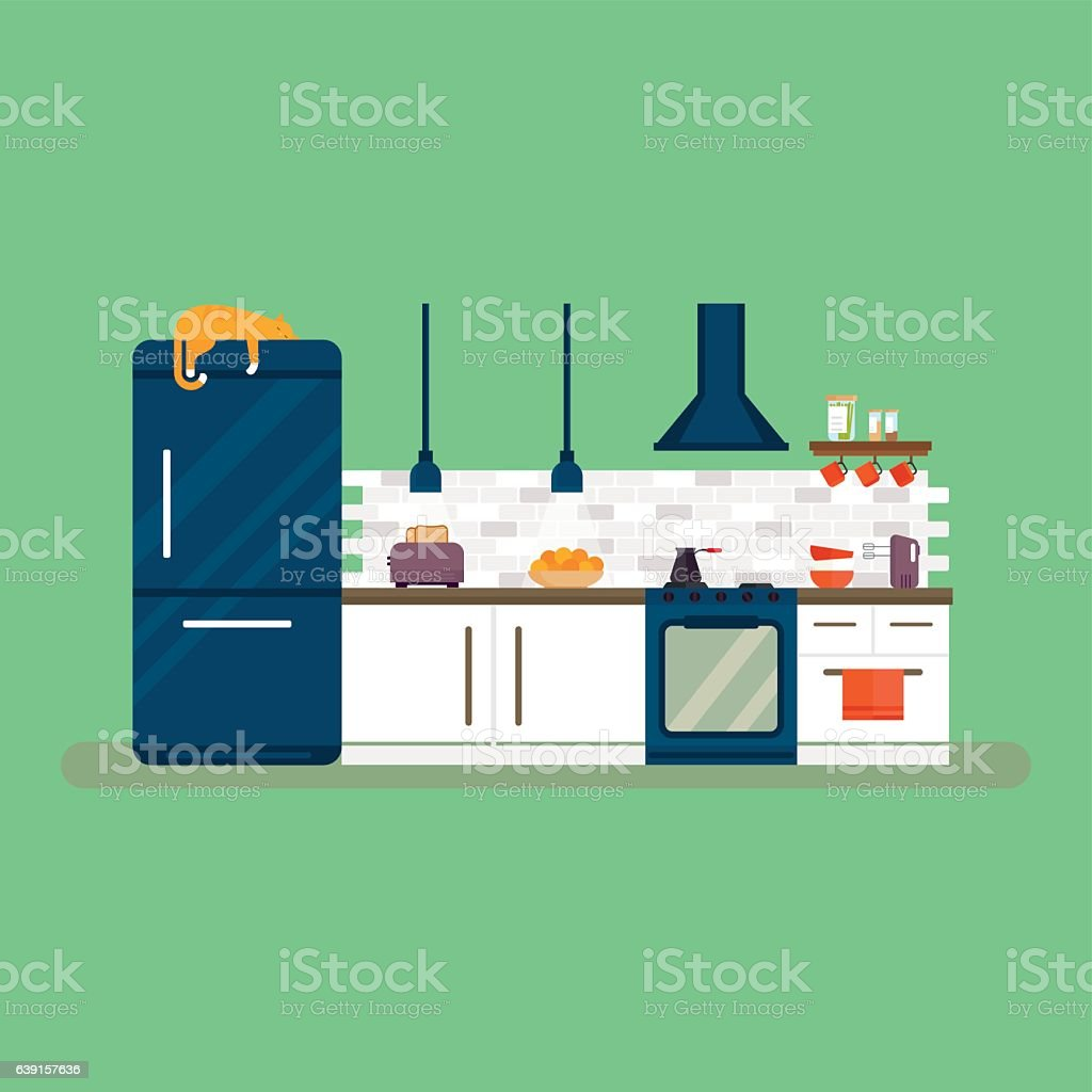 Kitchen and furniture interior flat style vector illustration