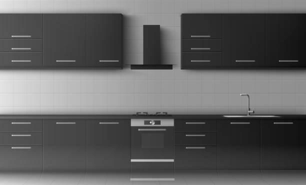 küchen- und haushaltsgeräte: gasherd, herdhaube, küchenmöbel - waschküchendekorationen stock-grafiken, -clipart, -cartoons und -symbole