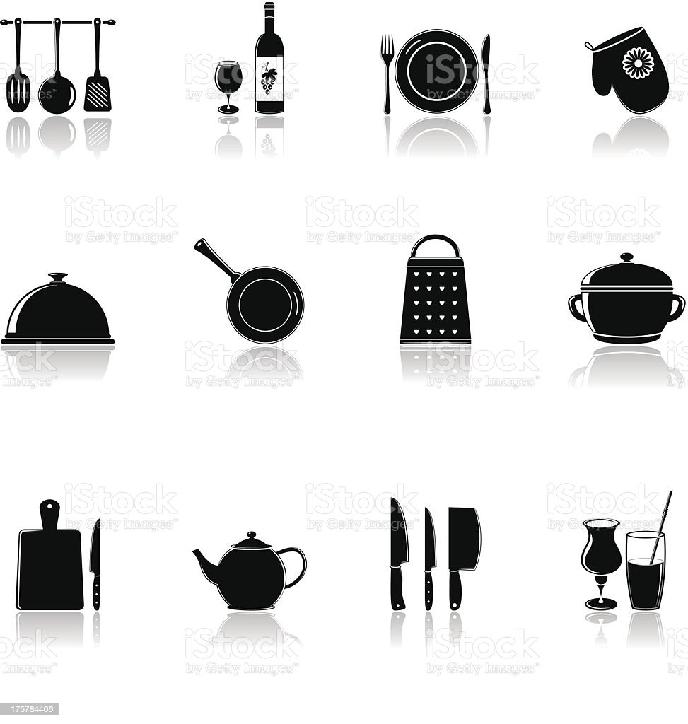 kitchen and household utensil icons royalty-free stock vector art