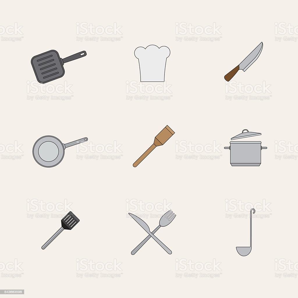 Küche Für Restaurant Kaufen   Kuche Im Restaurant Iconset Und Kuchenbedarf Kaufen Stock Vektor Art